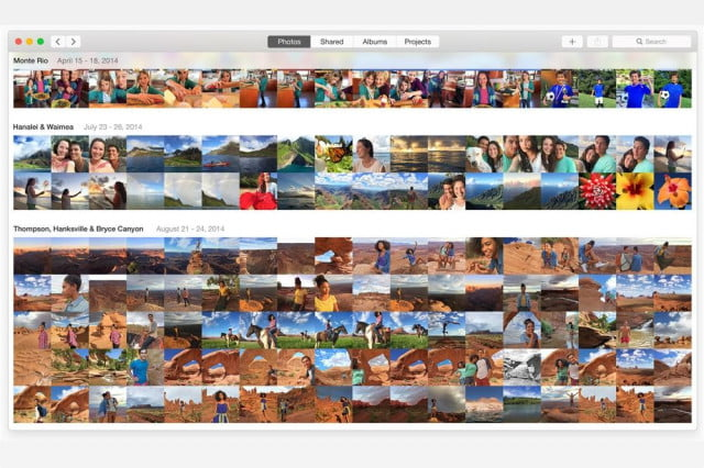 With photos separated into Moments, Collections, and Years, Photos for OS X mimics Photos for iOS.