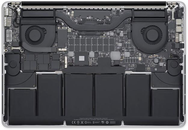 Macbook pro retina teardown battery motherboard inside cooling fans