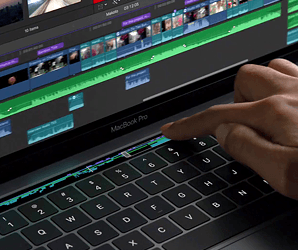 The latest MacBook Pro offers a touchscreen function panel that offers custom shortcuts in different apps.