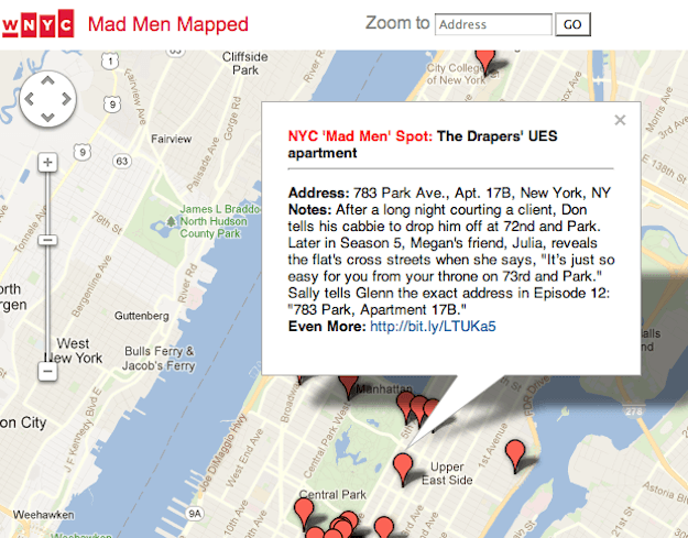 Mad Men Mapped: WNYC Google Maps guide