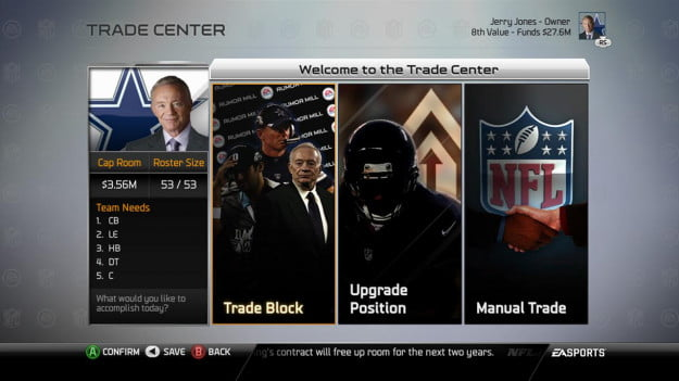Madden NFL 25 Playbooks 3 and 4 Connected Franchise trade center