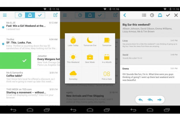 (From left to right) Swipe archive, swipe to snooze, and email thread.