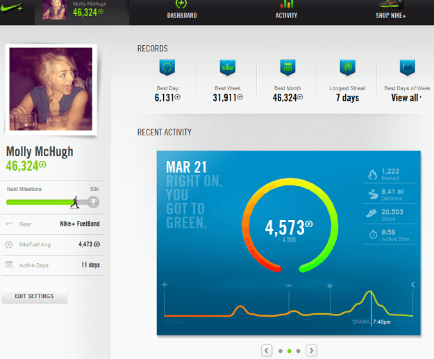 main view nike+ desktop