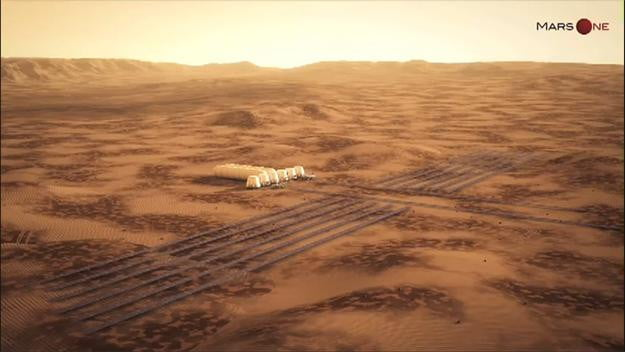 An aerial views of Mars One's planned settlement on Mars