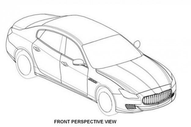 2014 Maserati Quattroporte leaked patent drawings overhead view