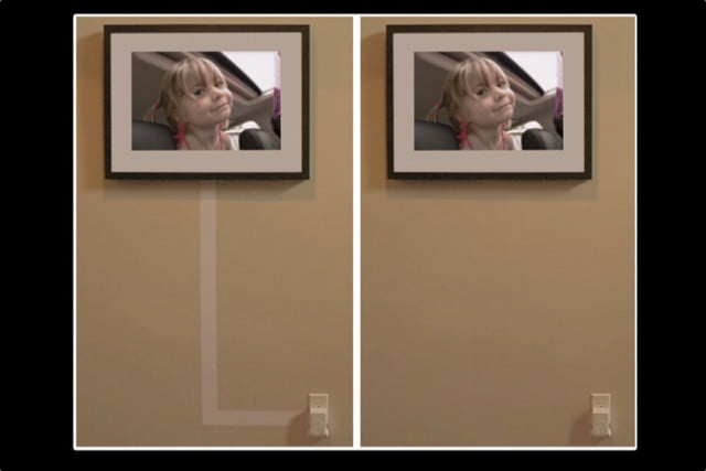 Memento Smart Frame's flat power cable can be painted over to blend in with a wall.