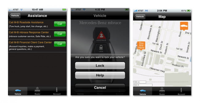 The best iphone android and blackberry apps for your car for Mercedes benz apps