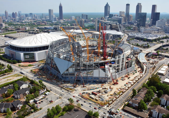 dt  fans and players compete for stardom in the stadiums of future mercedes benz stadium construction