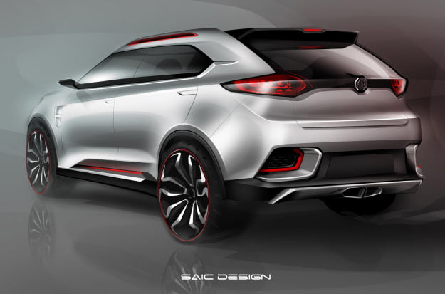 MG CS concept rendering rear three quarter