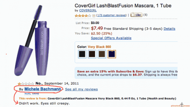 michelle bachmann fraudulent amazon product review