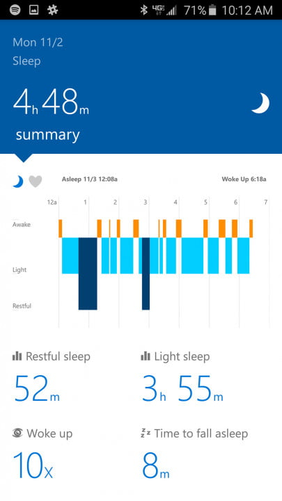 microsoft band  review app screen