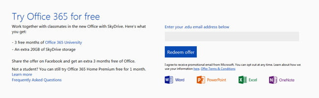 Microsoft Office 2013 for Students offer