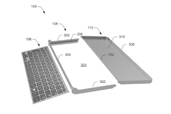 patent reveals design of microsofts new collapsible keyboard for computing device microsoft disassembled