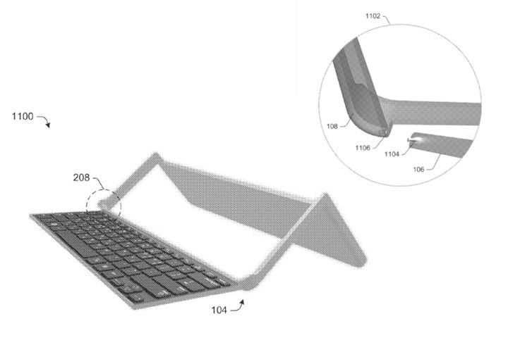 patent reveals design of microsofts new collapsible keyboard for computing device microsoft hinge