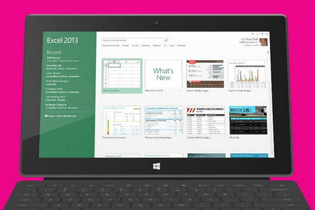 microsoft surface office excel