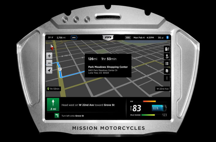 missions hot new  hp electric motorcycles one gear plus reverse mph and no shifting mission moto rs dash gps map