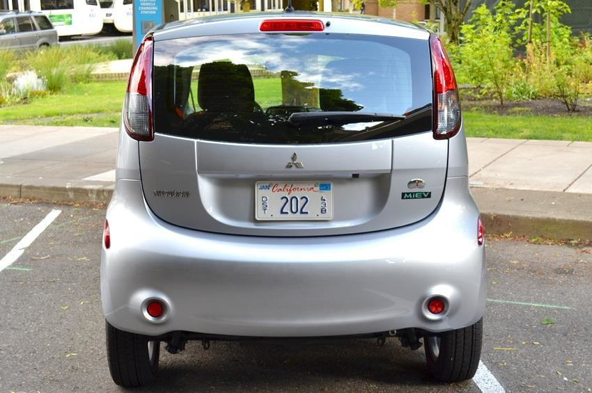 Mitsubishi i MiEV review rear view electric vehicle