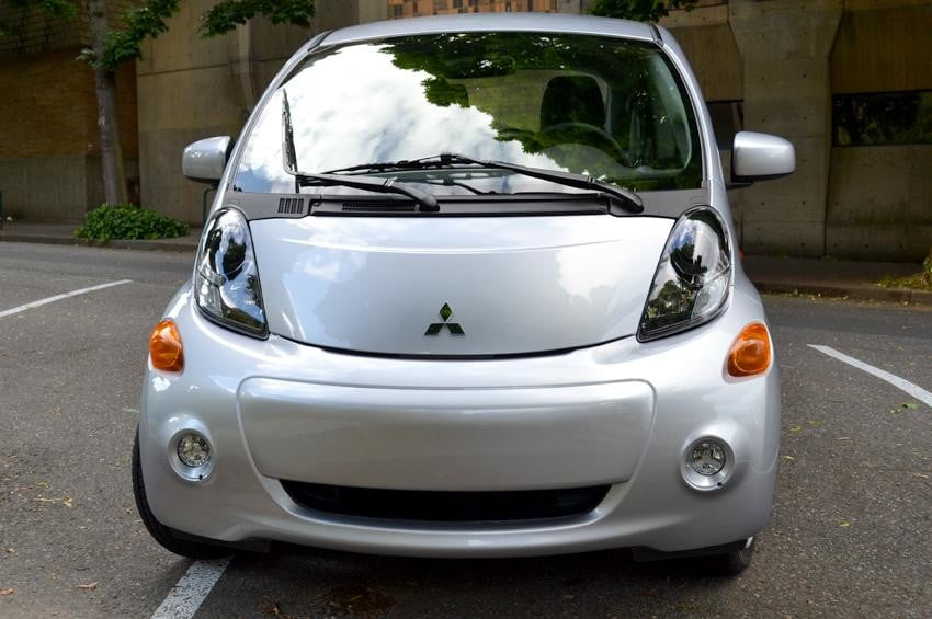 Mitsubishi i MiEV review exterior electric vehicle front logo