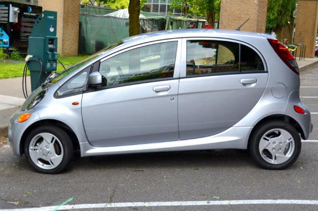 Mitsubishi i MiEV electric vehicle profile side view design
