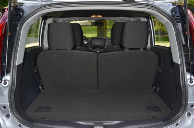 Mitsubishi i MiEV review interior back trunk space open electric vehicle