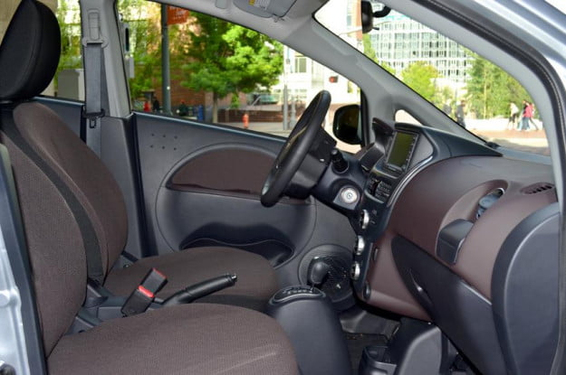 Mitsubishi i MiEV review interior drivers steering wheel front