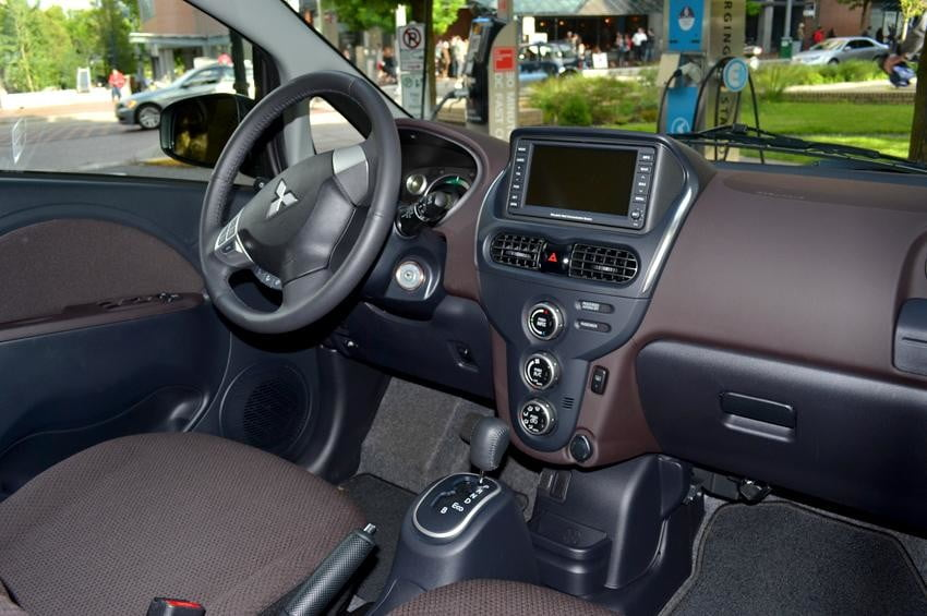 Mitsubishi i MiEV review interior front seats electric vehicle inside