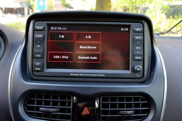 Mitsubishi i MiEV review interior media dashboard middle ipod audio gps controls