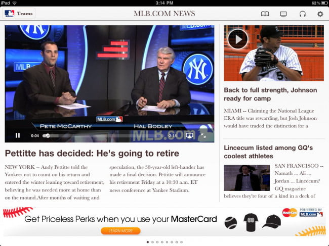 MLB at Bat 11 for iPad app