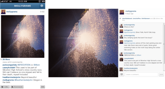 instagram mobile v web