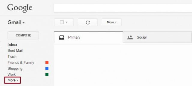 More option in Gmail