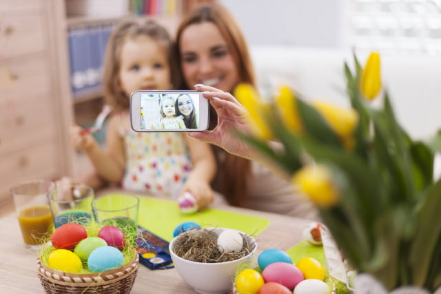 facebook france children privacy mother and daughter taking self portrait while easter time