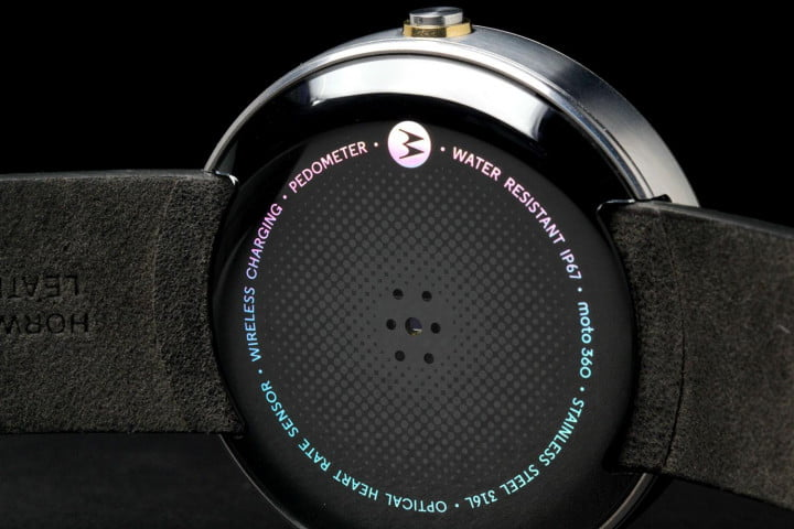 Moto 360 Watch back angle