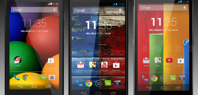 Moto E, Moto X, and Moto G side by side