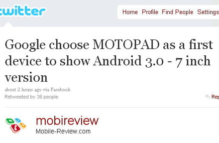 Motopad to be first Honeycomb tablet from Google