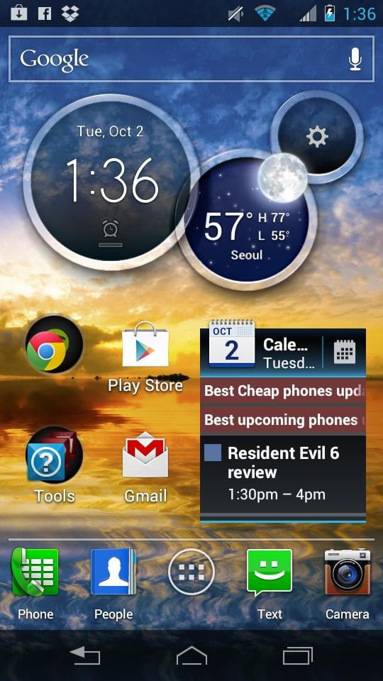 Motorola Droid RAZR M screenshot widgets