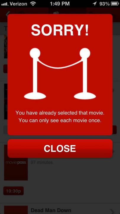 my months with moviepass the ultimate service for movie geeks pass screenshot