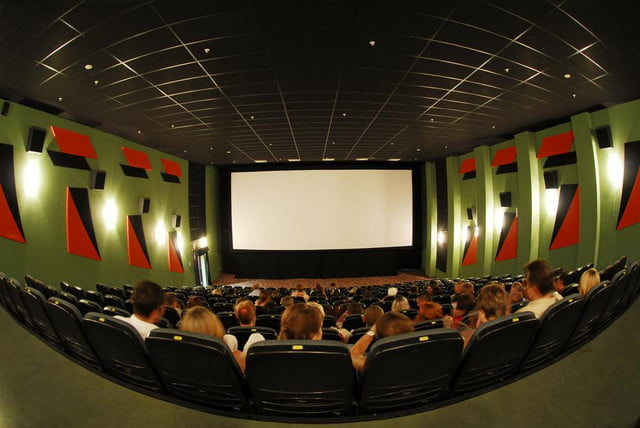 theater tests system displays audience texts big screen movie