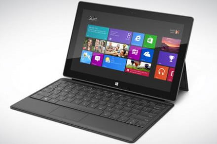 Microsoft surface tablet open screen on graphite