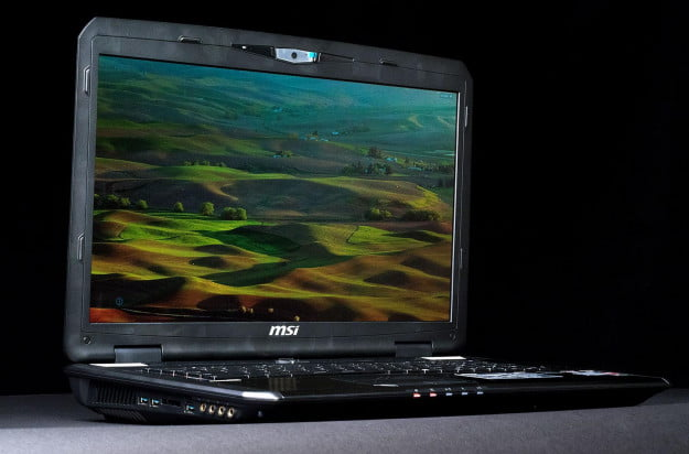 MSI GX70 gaming laptop front angle