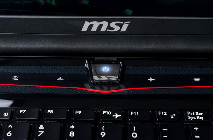 msi gx  review gaming laptop power button