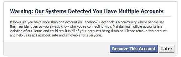 Facebook multiple accounts warning