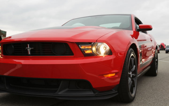 ford mustang boss review red front close up