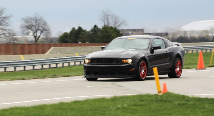 ford mustang boss review black laguna seca front