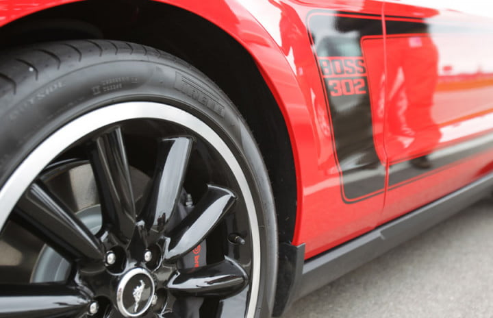 ford mustang boss review red wheel