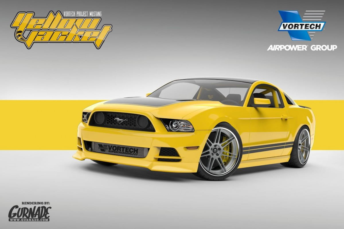 lucky sema vortechs  horsepower yellow jacket mustang is coming vortech
