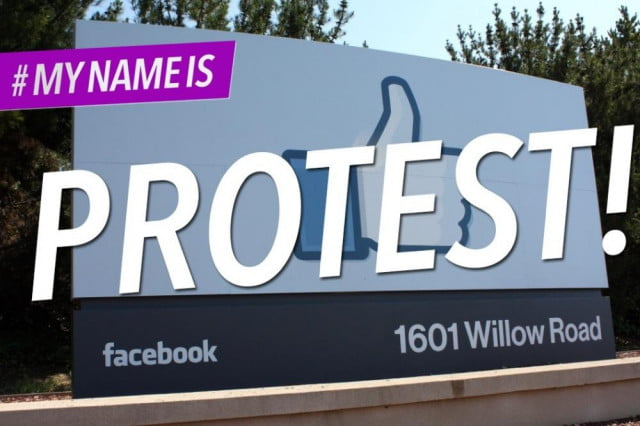 protestors demonstrate outside facebook hq against fake name policy mynameiscampaign protest graphic
