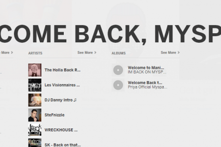 myspace welcome back