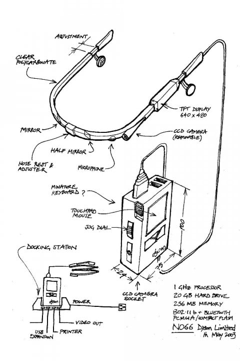 james dyson nearly invented google glass back  n concept drawing may