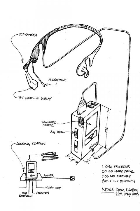 james dyson nearly invented google glass back  n concept drawing