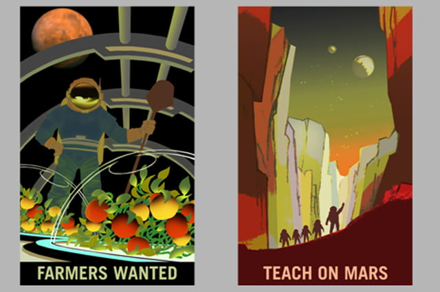 nasa mars recruiting posters  farmers and teachers on x